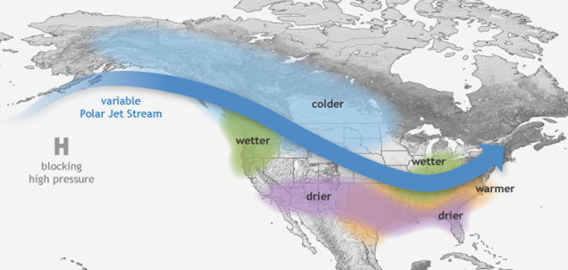 Wpływ La Ninii na pogodę w Ameryce Północnej