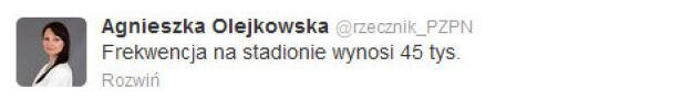Rzeczniczka PZPN o frekwencji na meczu Polska-Anglia Agnieszka Olejkowska /Twitter