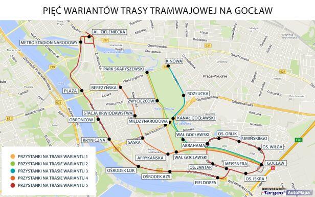 Warianty tramwaju na Gocław
