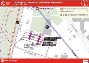 Początki rewolucji przy metrze Wilanowska. Przenoszą przystanki