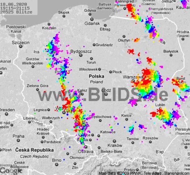 Ścieżka burz nad Polską (godz. 19.15-21.15) (blids.de)