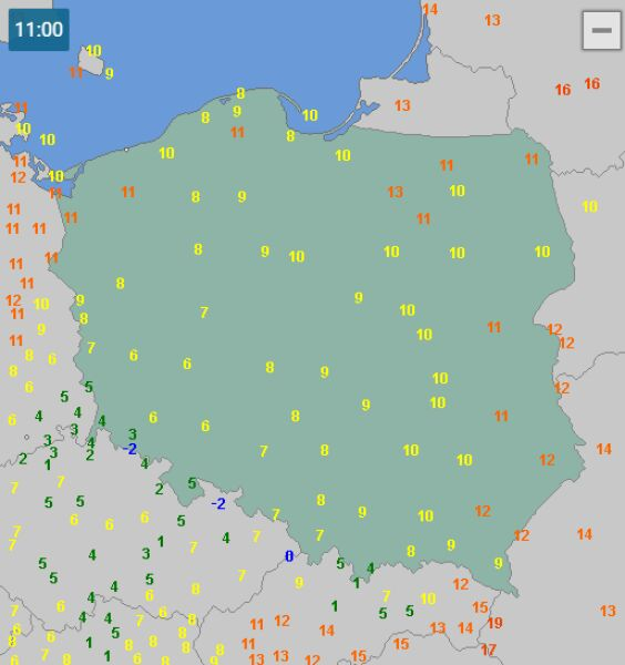 Temperatura w Polsce w dniu 15 maja o godzinie 11 (wetteronline.de)