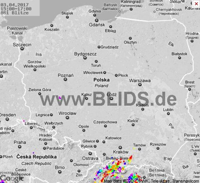 Burze w Polsce w godz. 15.00-17.00 (blids.de)