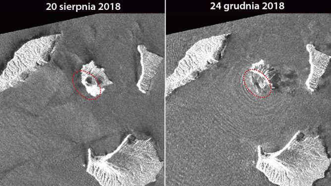Zmiany kształtu wulkanu Krakatau przed i po erupcji (GSI)