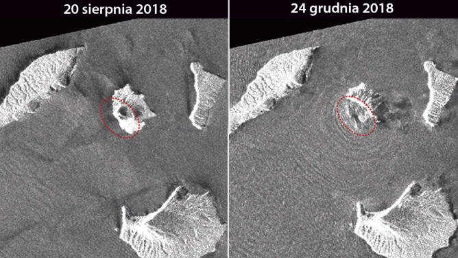 Część wulkanu po prostu zniknęła. <br />Zdjęcia sprzed i po kataklizmie